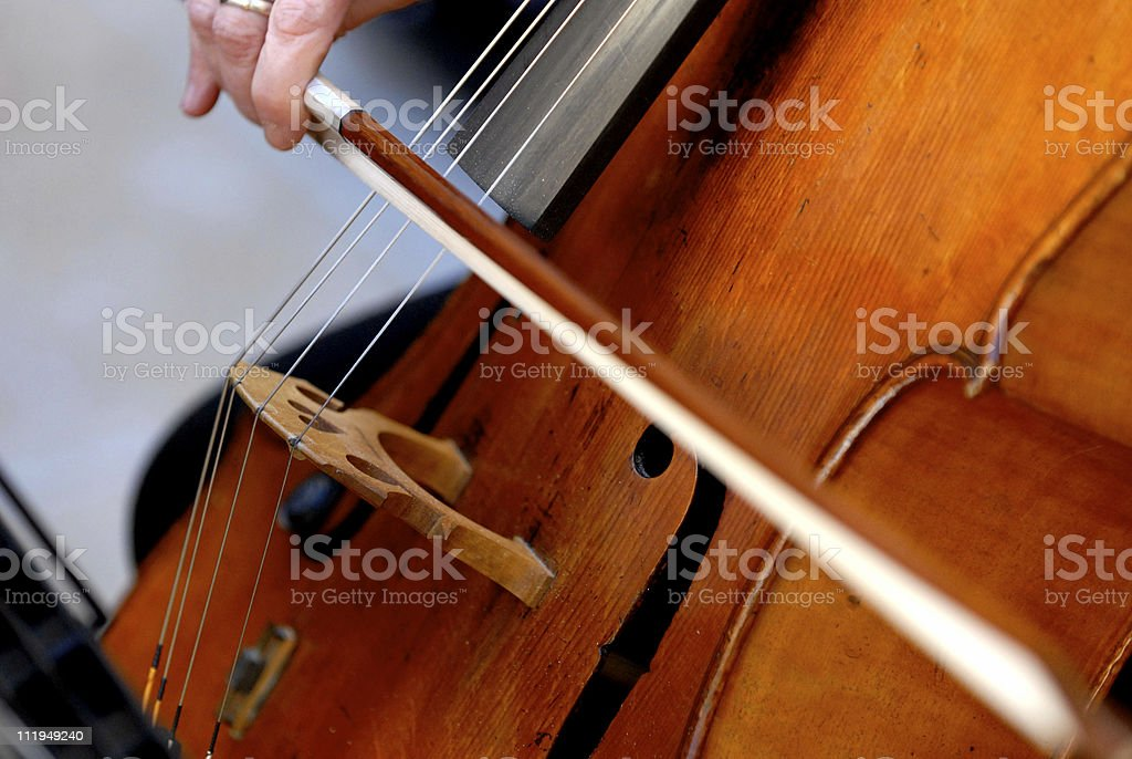 Wedding Cellist Close Up with Bow stock photo
