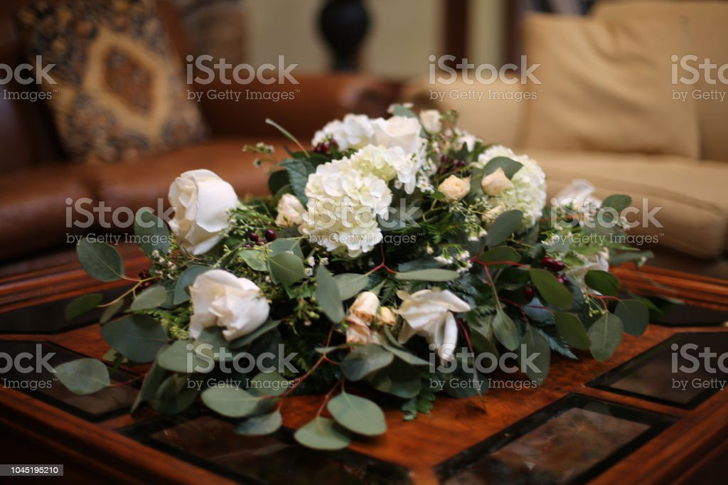 Wedding Centerpiece White Flower Arrangement With Roses Hydrangea