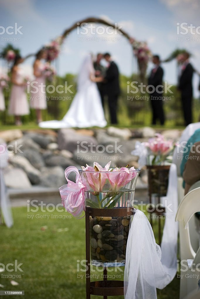Wedding Ceremony Aisle Outdoors with Flower Decoration royalty-free stock photo