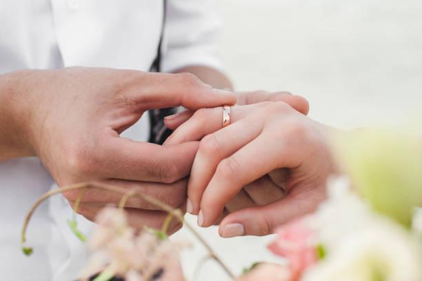 Wedding ceremony, human hands stock photo