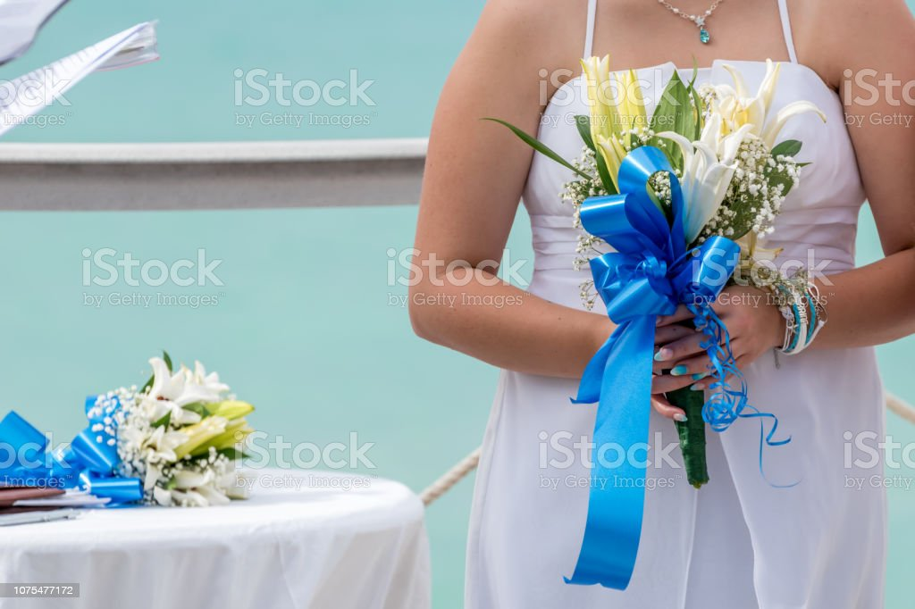 Wedding ceremony in the Caribbean stock photo