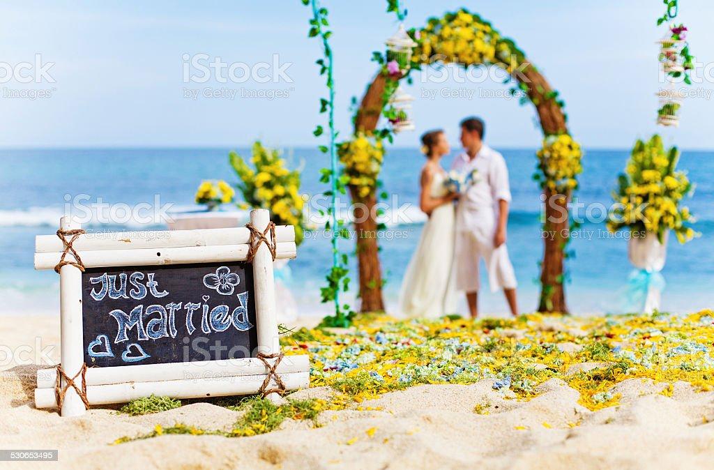 Wedding ceremony on the beach stock photo