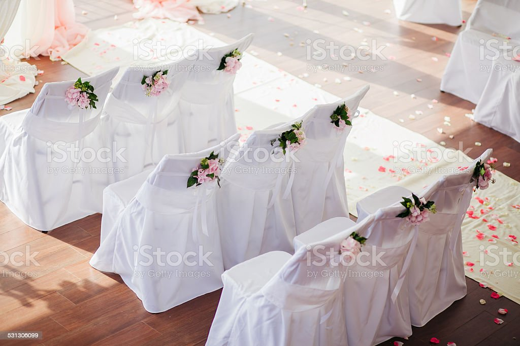Wedding Chair Covers With Flowers Stock Photo Download Image Now Istock