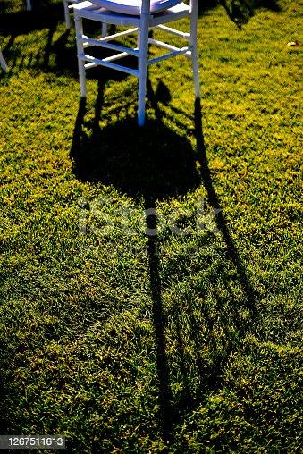 Wedding chair on green grass