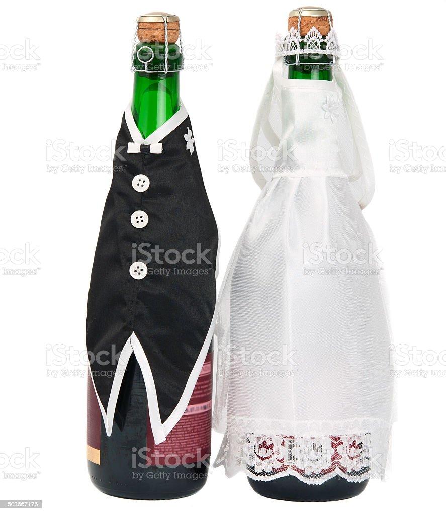 Wedding champagne bottle stock photo