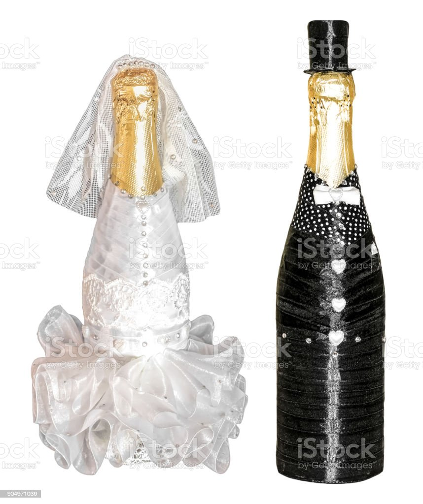 Wedding champagne bottles isolated, marriage husband and wife stock photo