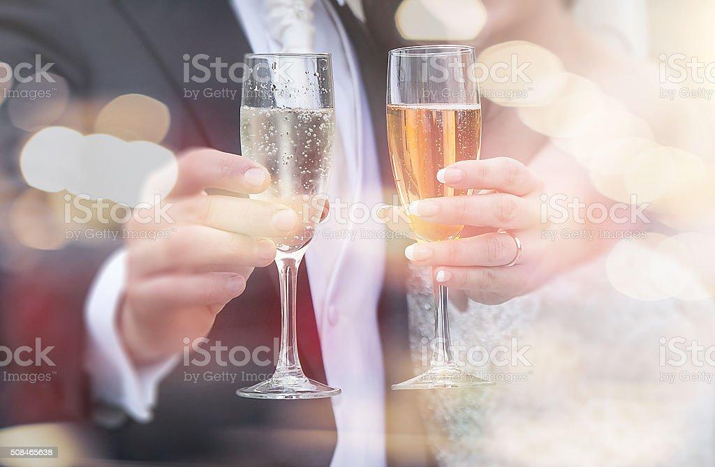 Boda champán brindis - foto de stock