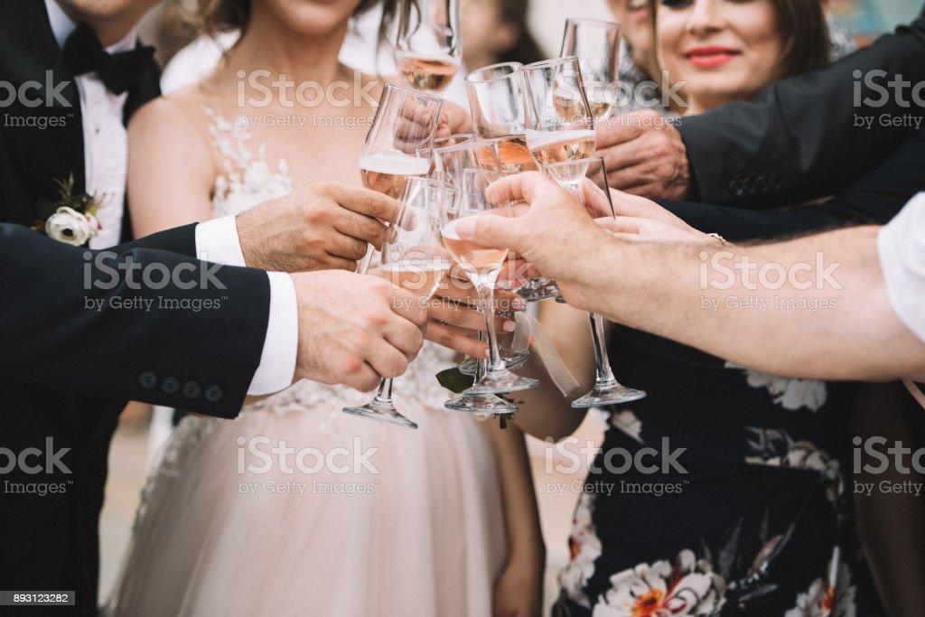 Wedding Champagne Toast - Stock image stock photo