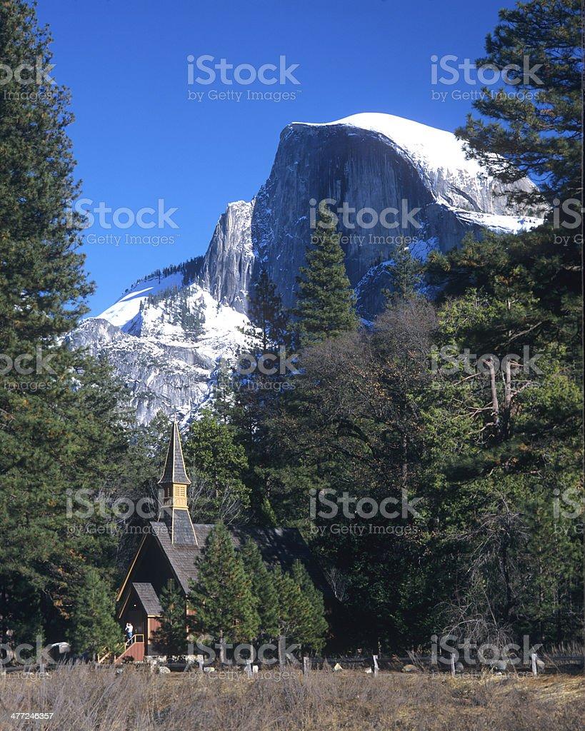 Wedding Chapel Beneath Yosemite National Park's Half Dome stock photo