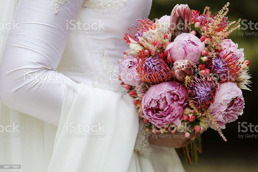 Wedding close up of white bridal bouquet stock photo