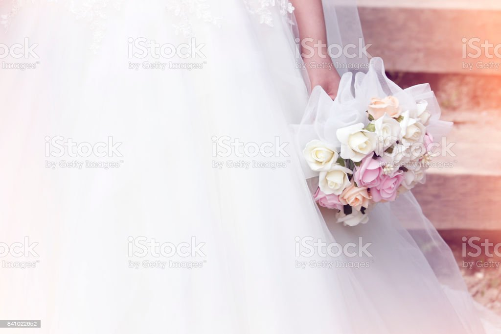 Wedding close up of white bridal bouquet