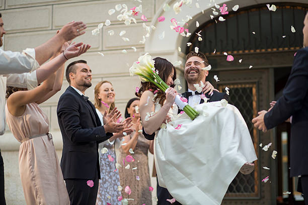 Wedding confetti bride and groom stok fotoğrafı