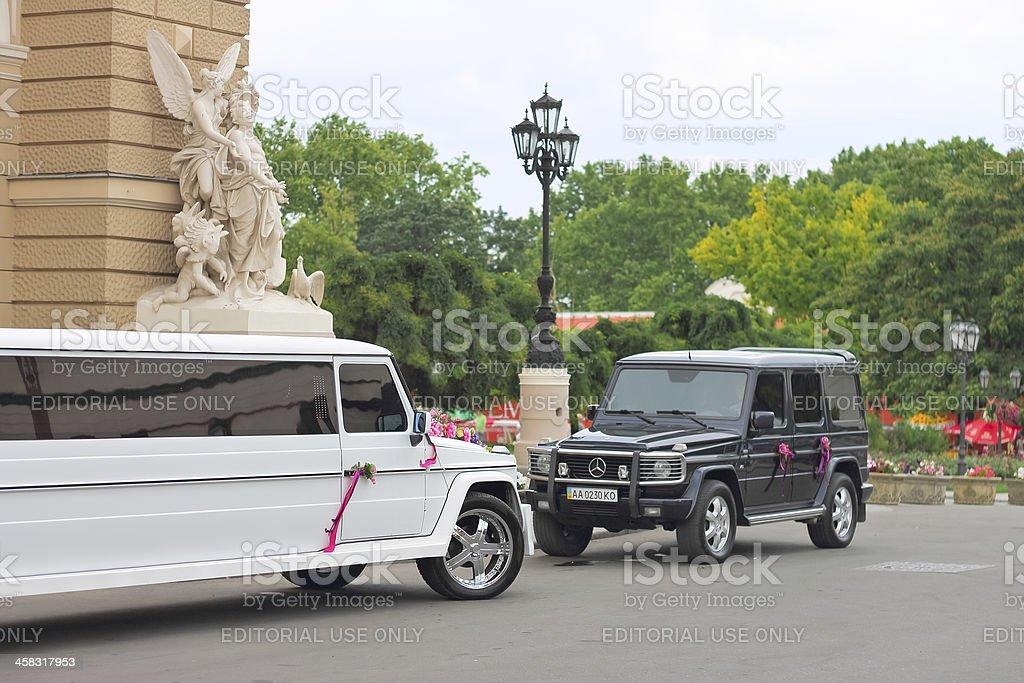 Wedding cortege near the entrance to Odessa Opera House. Ukraine royalty-free stock photo