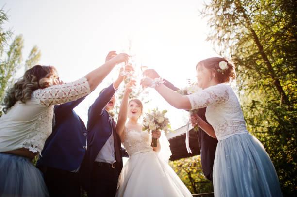 Wedding couple and groomsmen with bridesmaids stock photo