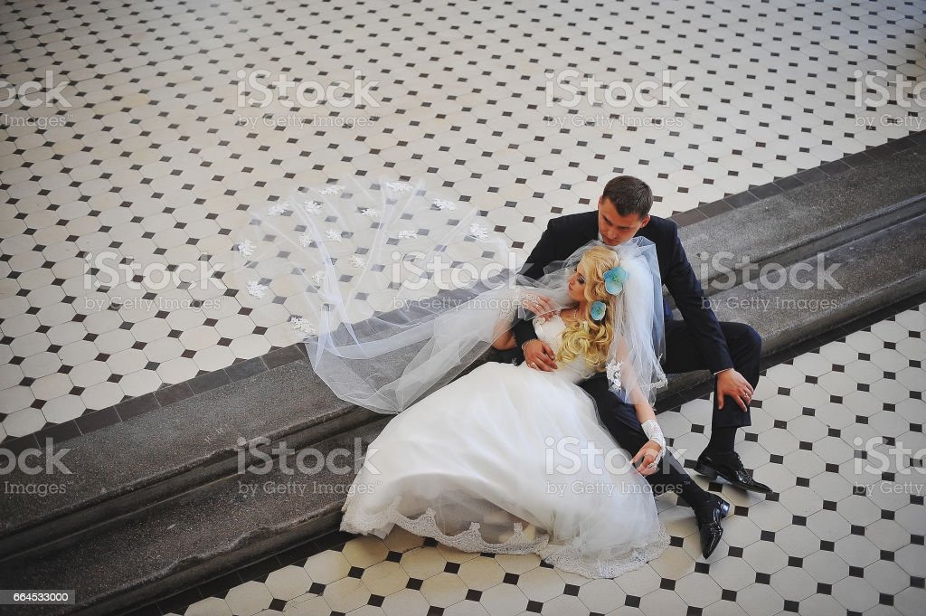 Wedding couple at catholic church royalty-free stock photo