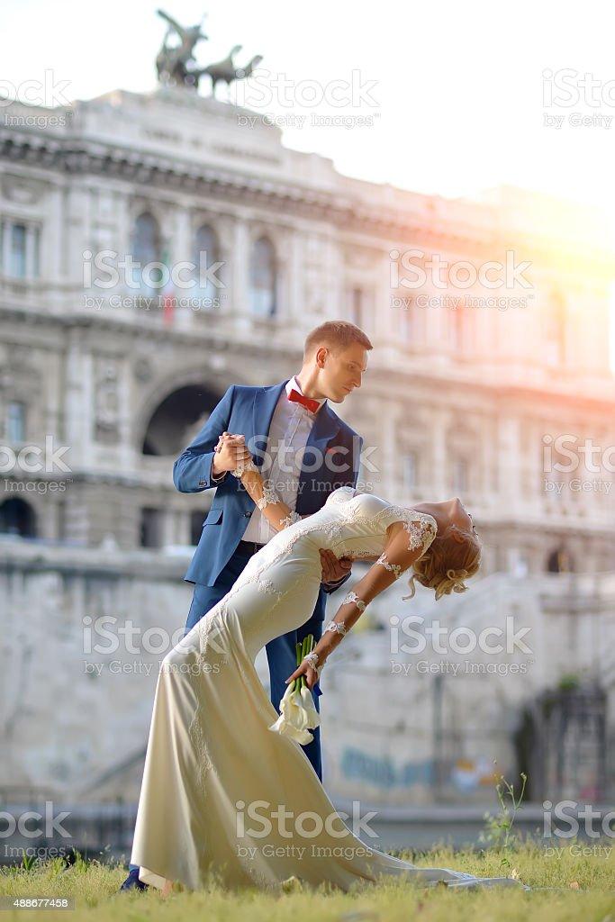 Wedding couple at Corte di Cassazione Italy Rome stock photo
