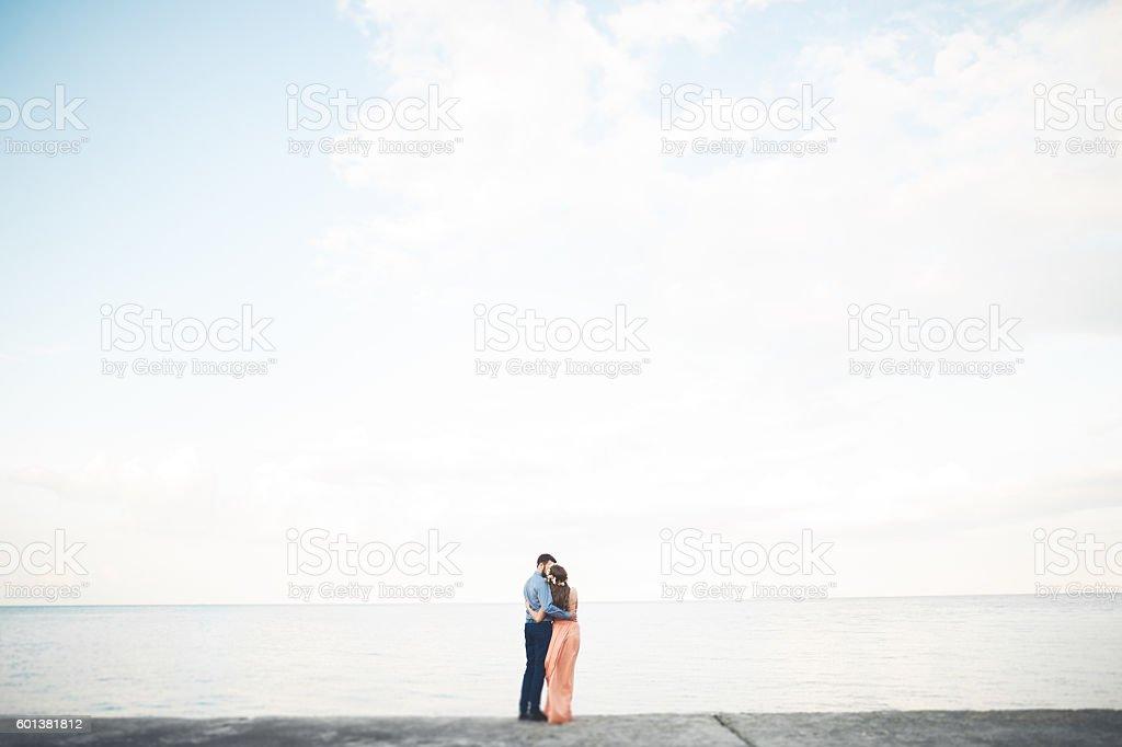 bf3e1b9f144e3a Wedding Couple Bride Groom Walking And Posing On Pier Stock Photo ...