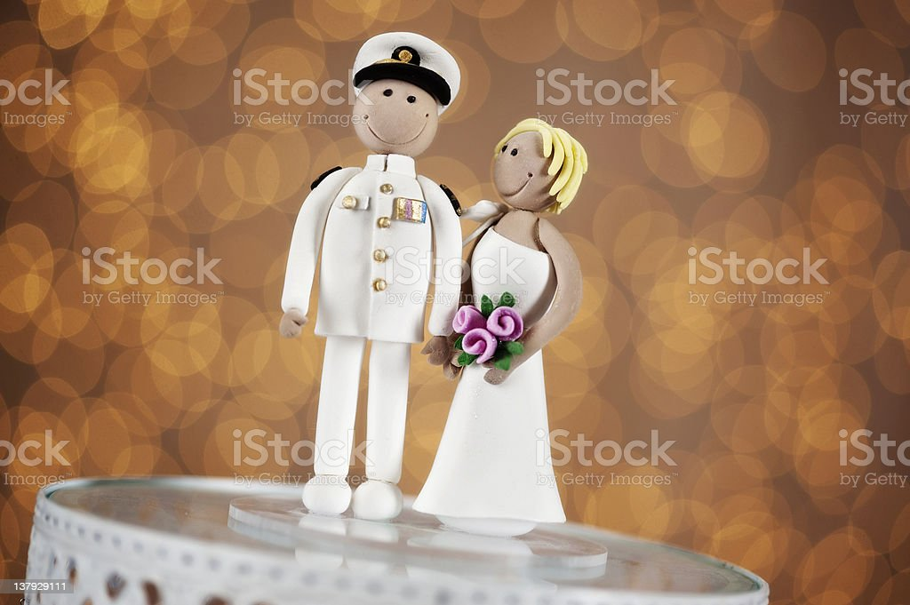 wedding couple cake topper stock photo