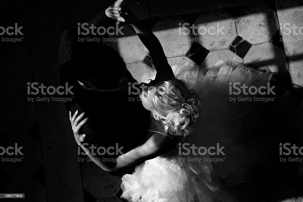 Wedding Couple Dancing, Black and White stock photo