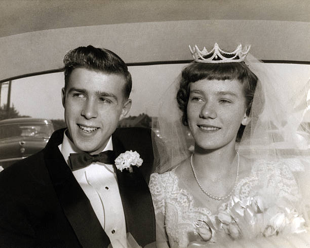 Wedding couple from the 1950's. stock photo