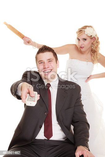 istock Wedding couple having argument conflict, bad relationships 465861462