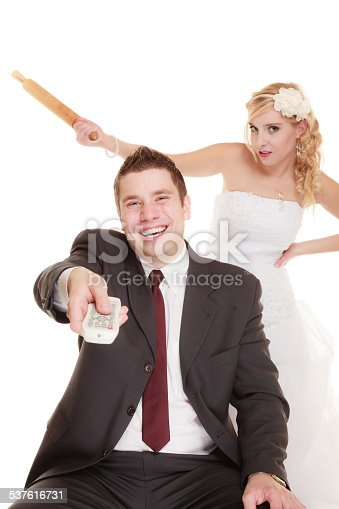 istock Wedding couple having argument conflict, bad relationships 537616731