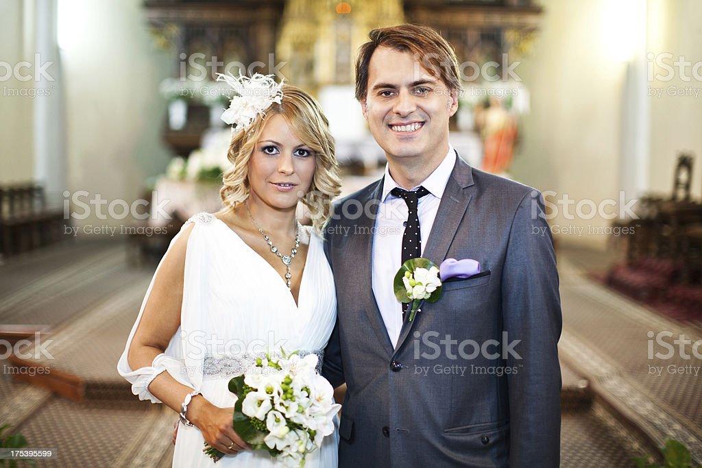 Wedding couple in church royalty-free stock photo