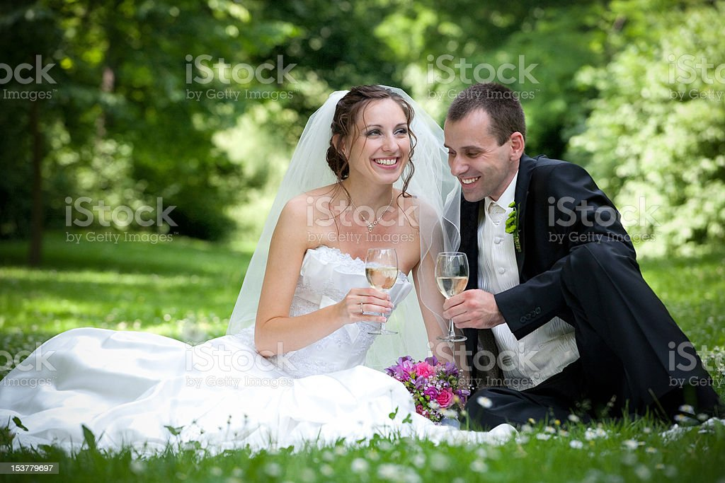 wedding couple in the park royalty-free stock photo