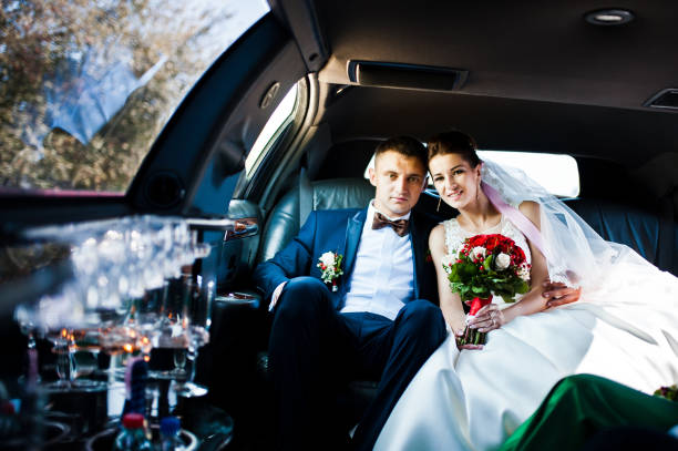 wedding couple indoor the limousine stock photo