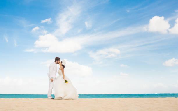 Wedding couple kissing on the beach. stock photo