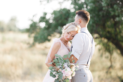 portrait of wedding couple on the nature in summer day. the bride and groom hugging at the wedding.