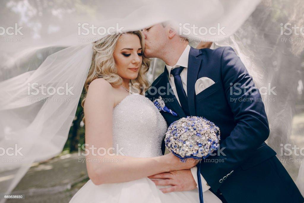 wedding couple Park 免版稅 stock photo