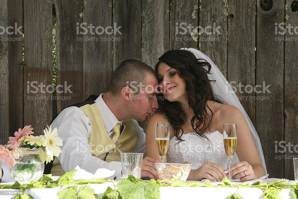 Wedding Couple (shoulder kiss) stock photo