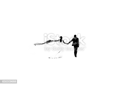 Wedding couple silhouette isolated on white.