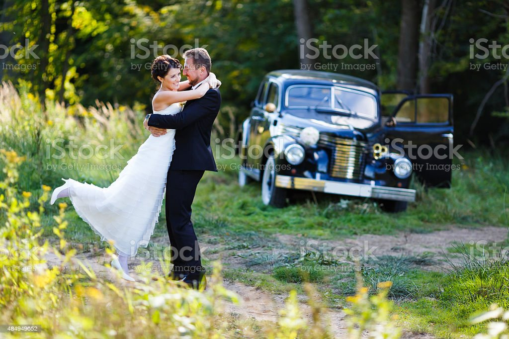 Wedding Couple With Old Car Stock Photo Download Image Now Istock