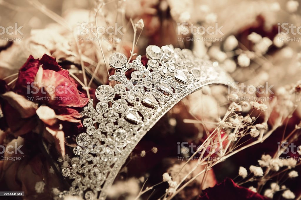 Wedding Crown on flower background stock photo