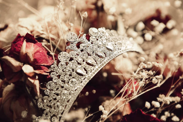 wedding crown on flower background - diadem stock pictures, royalty-free photos & images