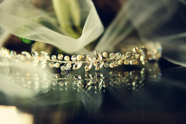 wedding crown - diadem stock pictures, royalty-free photos & images