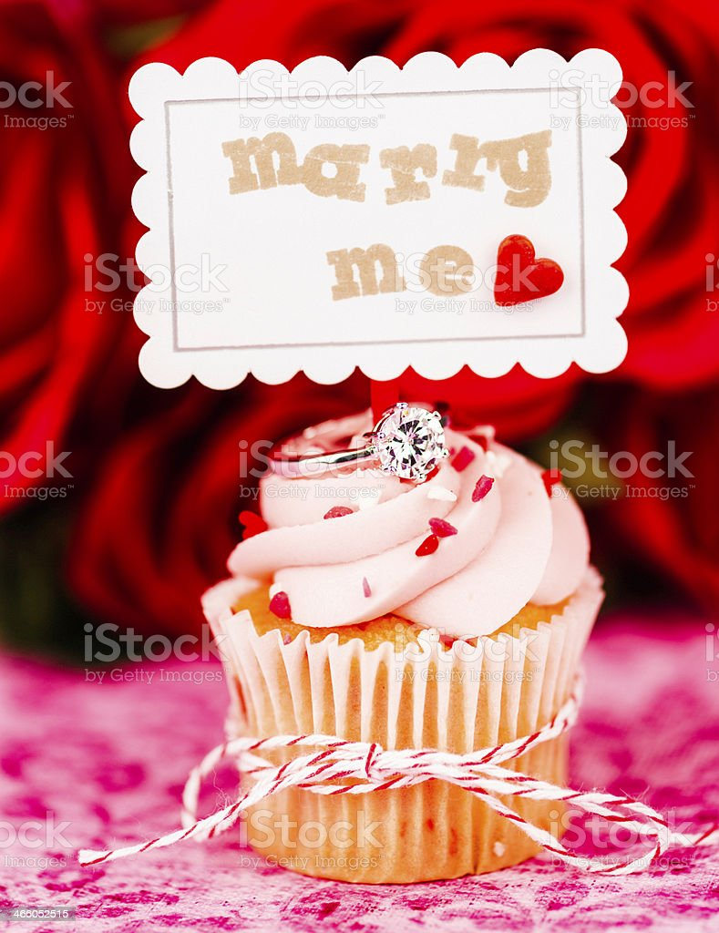 Wedding Cupcake with Engagement Ring and Marry Me Sign