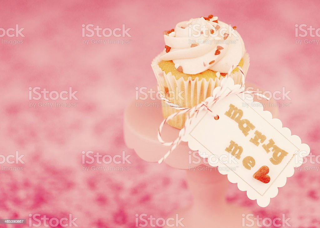 Wedding Cupcake with Marry Me Sign