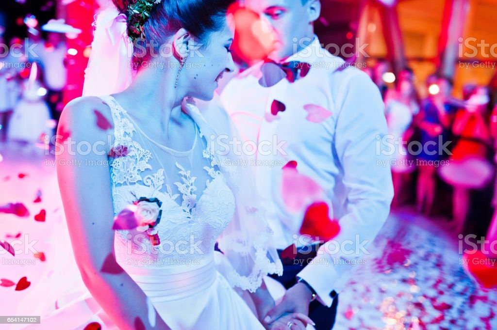 Wedding dance in restaurant with varioius lights and smoke stock photo