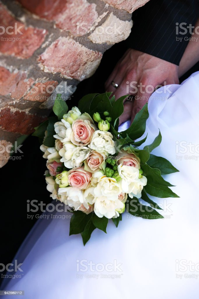 wedding day - bouquet stock photo