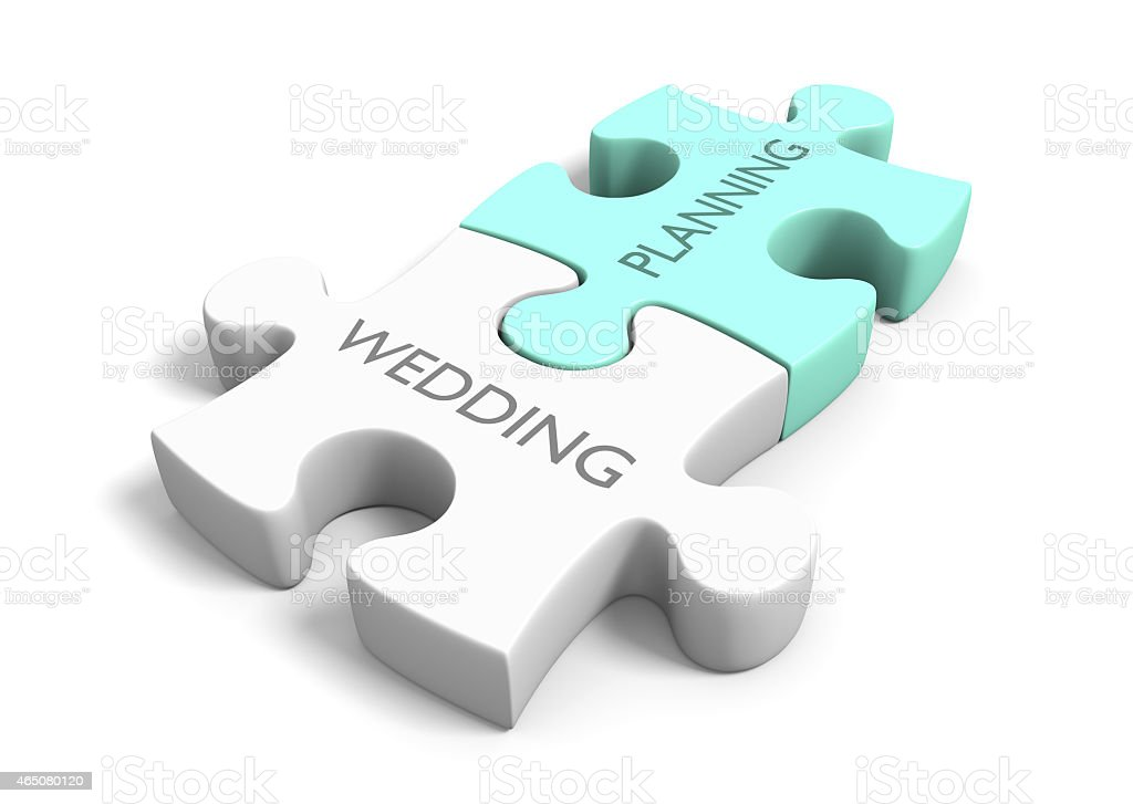 Wedding day planning and preparation puzzle concept stock photo