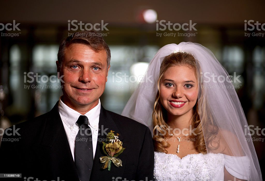 wedding day portrait - father and bride royalty-free stock photo