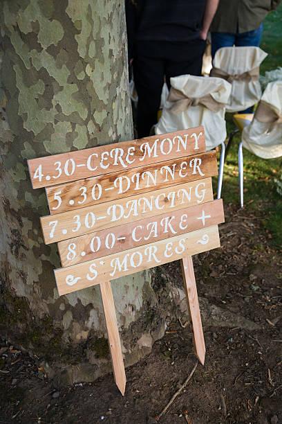 Wedding Day Timeline Schedule stock photo
