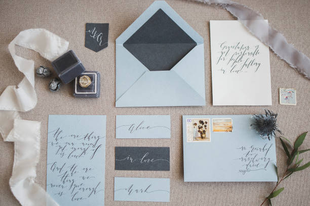 wedding decor and calligraphy - stationary stock photos and pictures