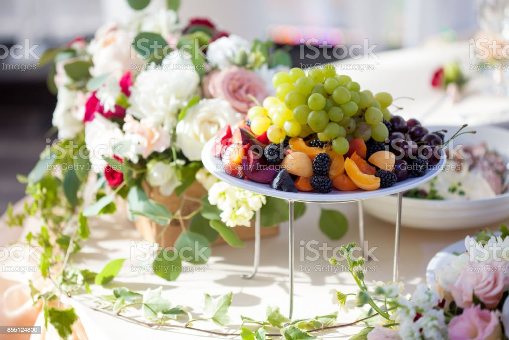 Wedding Decor Flowers In The Restaurant Food On The Table Stock Photo Download Image Now Istock