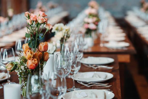 Wedding Decor Rustic Dining table Wedding Decor Rustic Dining table wedding stock pictures, royalty-free photos & images