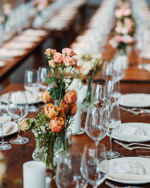 Wedding Decor Rustic Dining table stock photo