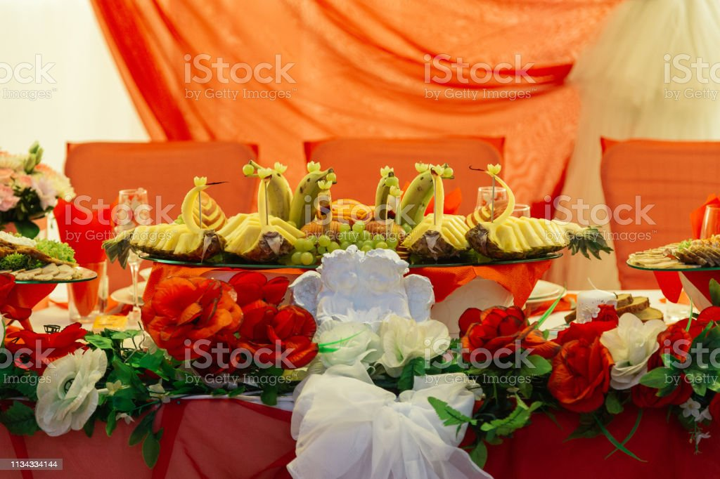 Wedding Decor Table For The Newlyweds Outdoor Wedding Reception Elegant Wedding Table Arrangement Floral Decoration Restaurant Wedding In The Forest